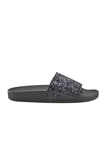 The White Brand Glitter Black damen, gummi, pantoletten, 40 EU