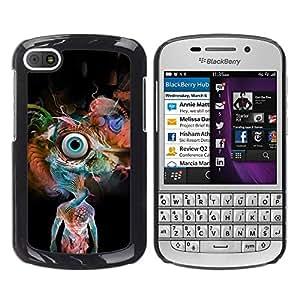 Caucho caso de Shell duro de la cubierta de accesorios de protección BY RAYDREAMMM - BlackBerry Q10 - Psychedelic Snake Eye