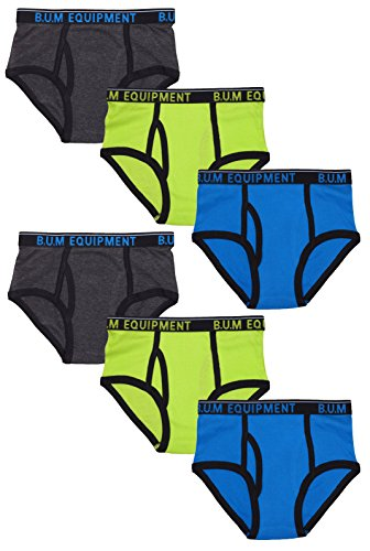 B.U.M. Equipment Boys 6 Pack Solid Underwear Briefs, Solids and Stripes, Charcoal/Lime/Blue, X-Small/4-5