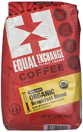 EQUAL EXCHANGE ORGANIC BREAKFAST BLEND, WHOLE BEAN 12 OZ