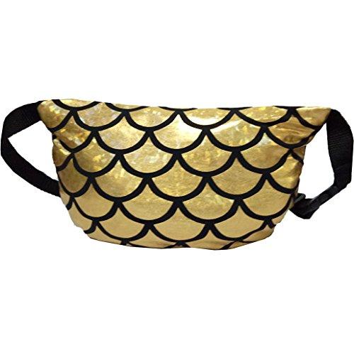 Winmany Multifunctional Women Sequins Bag /Waist Pouch /Storage Bag Travel Bag Fanny Pack Cross-body Shoulder Bag /Evening Party Bag/Make Up Bag with Adjustable strap (Gold)
