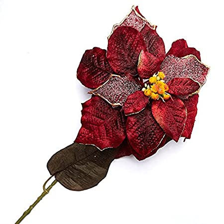Factory Direct Craft Sparkling Burgundy Velvet Artificial Poinsettia Stems for Indoor Decor - 2 Stems
