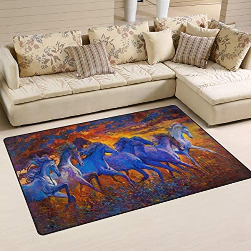 ALAZA Art Animal Horse Oil Painting Area Rug Rugs Non-Slip Floor Mat Doormats Living Dining Room Bedroom Dorm 60 x 39 inches inches Home Decor