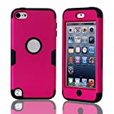 Lantier For iPod Touch 5 Case,Hybrid 3 Layers Hard Cover with Silicone Shell Inside Case Plastic TUFF Camo Triple Quakeproof Drop Resistance Protective for iPod Touch 5 5th Generation with Screen Protector and Stylus Pen K-Hot Pink/Black
