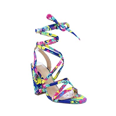 ae52388688e Amazon.com: Liliana Sage-133 Multi-Color Chunky Lace-Up Open Toe ...
