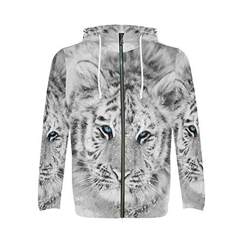 Siberian Tiger Sweatshirt - INTERESTPRINT Custom Black and White Siberian Tiger Wild Animal Men's Full-Zip Zipper Hoodies Sweatshirt 2XL