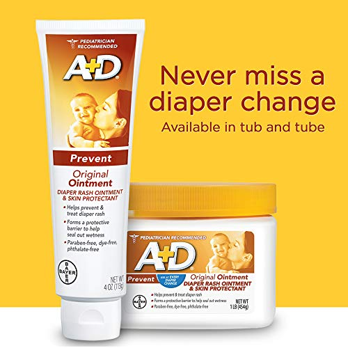 A+D Original Diaper Rash Ointment, Skin Protectant With Lanolin and Petrolatum, Seals Out Wetness, Helps Prevent Baby Diaper Rash, 16 Ounce (Pack of 1)