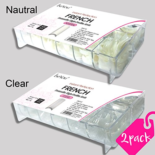 - beYou 2PACK Natutal/Clear French 500 Artificial Fake Nails (Total 1000 Tips) 10Sizes For Nail Salon Nail Shop (24010/24012) (French)