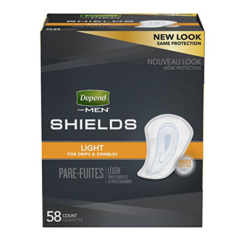 (Depend Shields for Men, Light Absorbency  Incontinence Protection, 3 Packs of 58, 174 Total)