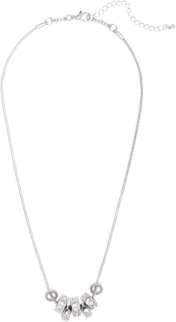 GUESS Factory Womens Silver-Tone Beaded Necklace