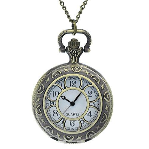 FobTime Hollow Flower Shape Design Antique Vintage Noble Long Chain Pocket Watch With Lace Details