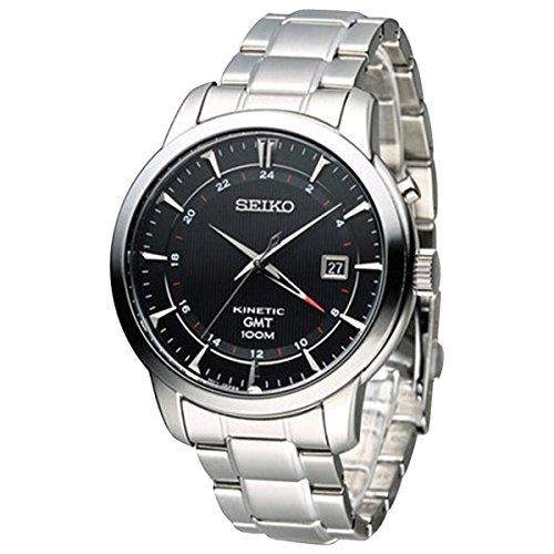 Seiko Kinetic 100 Meter - Seiko SUN033P1 Men's Kinetic Gmt,Steel Case & Bracelet,100m WR SUN033