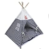 VIILER- Pet Supplies Washable Durable Navy Stripe Style Pet House Tent and Pet Bed with Strong Sticks and Comfortable Mat Set for Little Dogs and Cats (Blue Tent with Cushion) Review