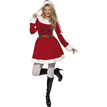 817a05dc42dcb Smiffys, Damen Weihnachtsfrau Kostüm, Kleid mit Kapuze, Größe: M, 33597