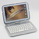 SUPERNIGHT 360 Degree Rotating Aluminum Cover Case with Build-in Bluetooth 3.0 QWERTY Keyboard for Samsung Galaxy Note 8.0 N5100 N5110 Tablet. Color:Silver