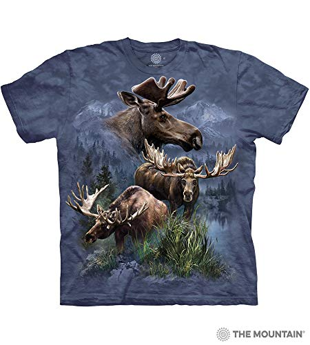 The Mountain Moose Collage Adult T-Shirt, Blue, Large