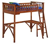 Night & Day Furniture GIN-LBH-FUL-COM-CUR-CH Ginger Loft with curvy desk, cherry finish, Full