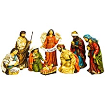 Evergreen 8-Piece Gloria Golden Flourish Outdoor-Safe Nativity Set