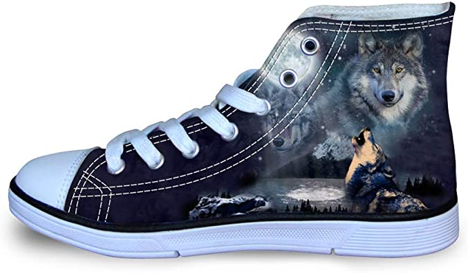 Coloranimal High Top Canvas Shoes for Kids Girls Boys Unisex Lace Up Casual DailyShoes