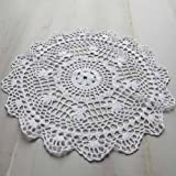 Package of 12 Hand Crocheted Round White Doilies - 100% Cotton- 12'' Round Diam.