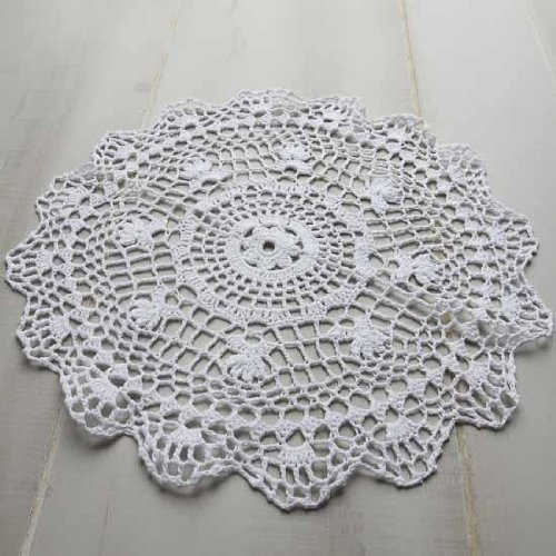 Package of 12 Hand Crocheted Round White Doilies - 100% Cotton- 12'' Round Diam. by Factory Direct Craft (Image #2)