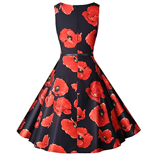 Sleeveless O Neck Floral Printed Evening Party Prom Dress ()