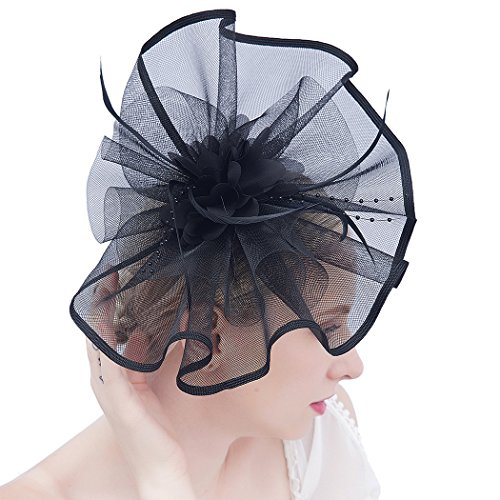 Felizhouse Fascinator Hats for Women Beaded Flower Feather Veil Party Headband (#2 Black) (Hat Beaded Fashion)