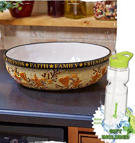 Gift Included- Country Kitchen Hearts and Stars Mixing Serving Bowls + FREE Bonus 23 oz Water Bottle byHomecricket (Oversized Serving Bowl) by HomeCricket