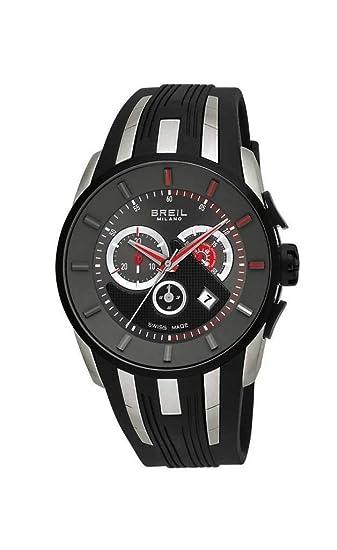 Breil BW0424 - Reloj cronógrafo de caballero de cuarzo con correa de goma negra (cronómetro