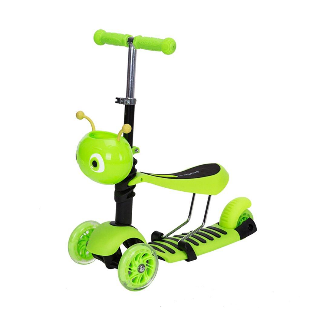 【 開梱 設置?無料 】 子供のスクーター折り畳み式多機能ウォーカー折りたたみ三輪式ライダープーリーリフト可能な取り外し可能な2-12歳 Green B07FZ8YSYS B07FZ8YSYS Green, Belle Vie:8d513497 --- a0267596.xsph.ru
