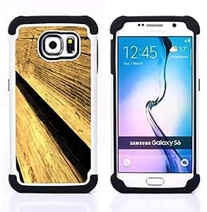 - Wood Texture Aged/ H??brido 3in1 Deluxe Impreso duro Soft Alto Impacto caja de la armadura Defender - SHIMIN CAO - For Samsung Galaxy S6 G9200