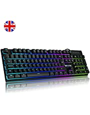 Luibor Mechanical Keyboard,Rainbow Breathable LED Backlight USB Wired Gaming Keyboard,21 Keys Anti-slipping Easy Connect to Laptop, PC etc.