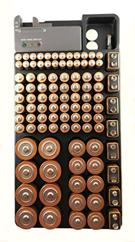 Battery Storage Organizer Case - Holds More Than 100 Batteries AAA AA C D 9V Button Cell - Battery Tester Included - Use as a Drawer Organizer - Great for Kitchen, Home Work Space, and Office Spaces