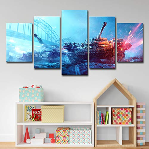 Price comparison product image OJKYK Prints On Canvas Game Battlefield Poster Modern Giclee Artwork Wall Decoration 5 Panel for Home Living Room Bedroom, B