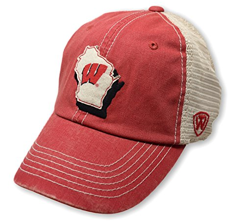 Top of the World NCAA Wisconsin Badgers Men's Elite Fan Shop Off Road Mesh Back Hat, Red