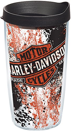 (Tervis 1157450 Harley Davidson Logo - Grunge Insulated Tumbler with Wrap and Black Lid, 16oz, Clear)
