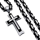 Hyning New Design Stainless Steel Byzantine Chain Men's Silver Black Cross Pendant Necklace 20-34