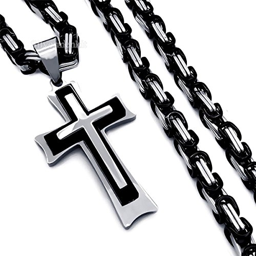 """New Design Stainless Steel Byzantine Chain Men's Silver Black Cross Pendant Necklace 20-34"""" (22)"""