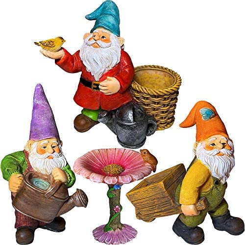 Mood Lab Miniature Gardening Gnomes Set of 4 pcs – 3,5 H Garden Gnome Figurines Accessories – Kit for Outdoor or House Decor