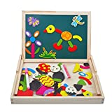 Irady Wooden Double Side Drawing Writing Board Magnetic Puzzle Game Toy Set for Boys Girls