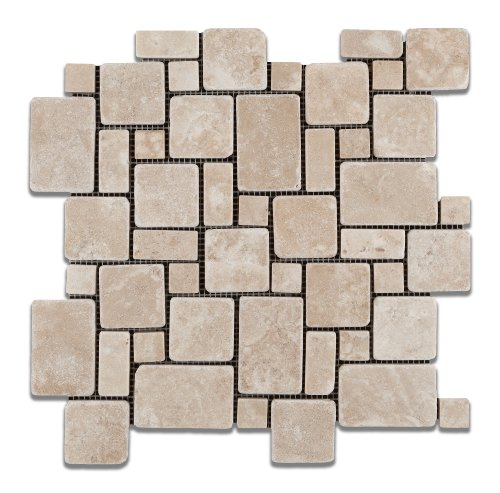 Durango Cream (Paredon) Travertine Tumbled Mini-Versailles Pattern Mosaic Tile - Box of 5 Sheets