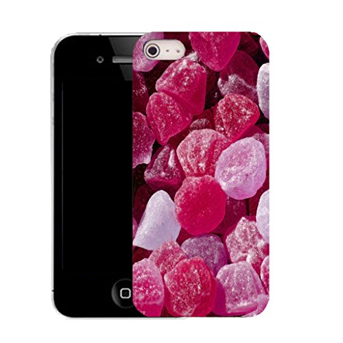 Mobile Case Mate IPhone 4 clip on Silicone Coque couverture case cover Pare-chocs + STYLET - PINK CANDY pattern (SILICON)