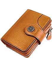 HOMPO Women's Small Wallets RFID Blocking Leather Wallet With Zipper Coin Pocket Bifold Mini Purse with ID Window