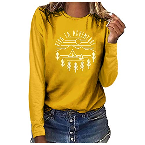 Royallove  Women T-Shirt Casual Summer Long Sleeve Tee Cat Print Viva La Adventure Loose Fit Blouse Shirts for Women ()