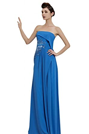 kingmalls Womens Sexy Blue Off Shoulder Long Prom Dresses (XX-Large)