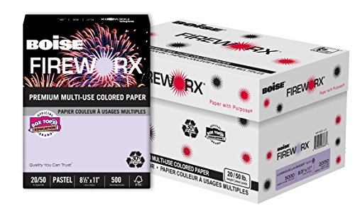 (BOISE FIREWORX Premium Multi-Use Colored Paper, 8.5 x 11, Luminous Lavender, 20 lb, 10 ream carton (5,000 Sheets))