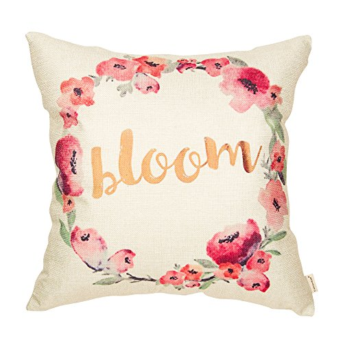 Fahrendom Bloom Watercolor Spring Pink Floral Wreath Seasonal Quote Cotton Linen Home Decorative Throw Pillow Case Cushion Cover with Words for Sofa Couch 18 x 18 Inch