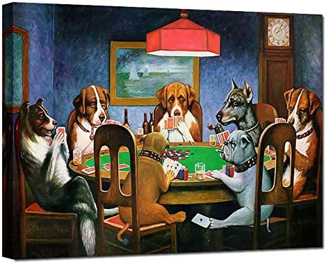 Funny Dogs Playing Poker Canvas Prints Humorous Animal Wall Art Cute Animation Poster Wall Decor
