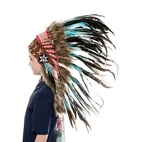 Novum Crafts Kids Feather Headdress | Native American Indian Inspired | Turquoise (Indian Chief Headdress For Sale)