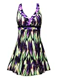 Septangle Women's Plus Size Swimdress Retro Floral Print One Piece Swimsuit (Green,US 26)